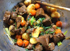 SAUTÉED CUBED STRIPLOIN STEAK, WITH POTATOES, CARROTS & ONIONS