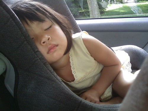 Toddler sleeping in car. From How to Plan for a Long Car Trip