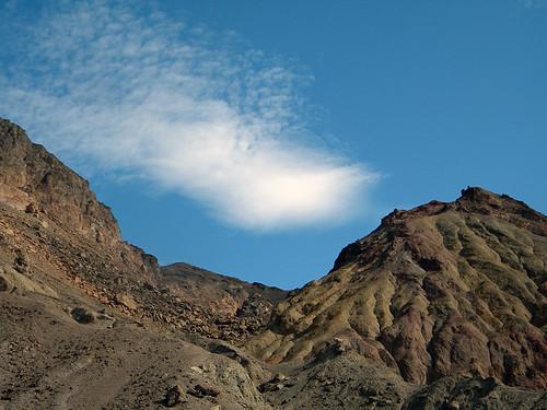 The Death Valley desert sky above dry landforms