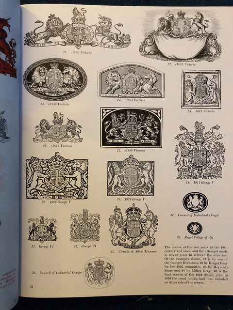 Simplified versions of the Royal Arms as used by the UK Government, article in Architectural Review,  1953