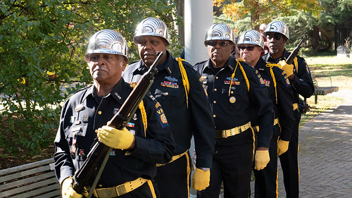 Photo of the Maryland Veterans of Foreign Wars State Honor Guard, led by Major Calvin Mitchell.