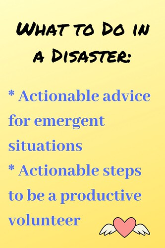 What to Do in a Disaster:  * Actionable advice for emergent situations  * Actionable steps to be a productive volunteer