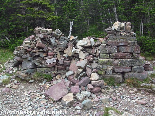 The ruins of the rock stand that once held the locomotive bell in Swiftcurrent Pass, Glacier National Park, Montana