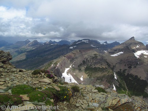 The Iceberg Peaks (right) and views into Canada from the Swiftcurrent Lookout Trail, Glacier National Park, Montana