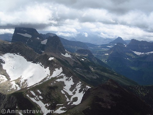 Mount Head-in-the-Clouds (aka Mount Grinnell) and the Grinnall Glacier (left) and Logan Pass from the Swiftcurrent Lookout Trail, Glacier National Park, Montana