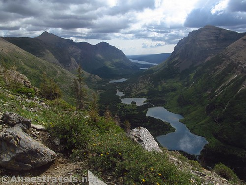 Views down on the Many Glacier Valley and Bullhead Lake from the Swiftcurrent Pass Trail, Glacier National Park, Montana