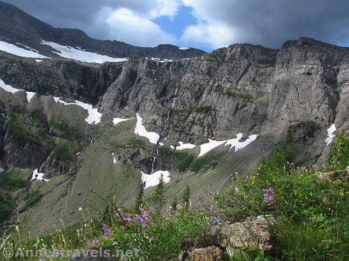 The Swiftcurrent Glacier and unnamed waterfalls in the Swiftcurrent Amphitheater, Glacier National Park, Montana