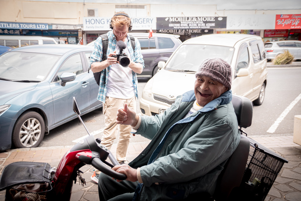 Happy person on the wheelchair in Auckland