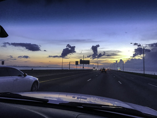 Driving in a Tampa Sunset
