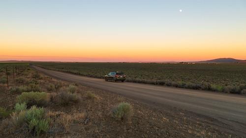 subaruoutback car vehicle fortrock sunset color twilight countryroad statepark oregon centraloregon desert moon moonrise sage shrub