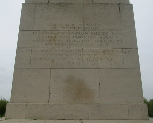 Inscription 50th Northumbrian Division Memorial, Wieltje, Belgium