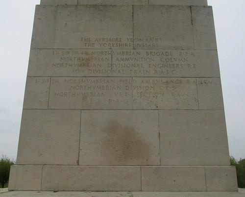 Inscription 50th Northumbrian Division Memorial, Wieltje, Belgium