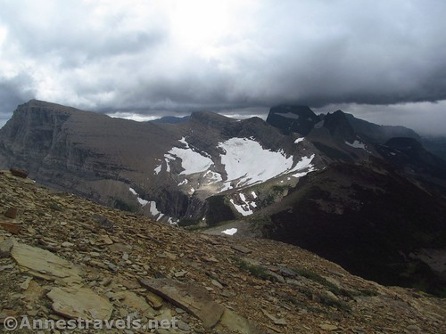 Looking back toward Swiftcurrent Pass and Mount Grinnell from the Swiftcurrent Lookout Trail, Glacier National Park, Montana