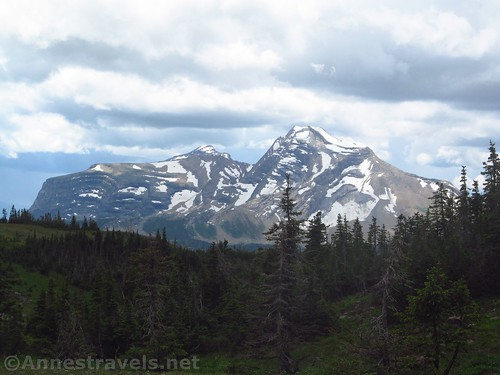 About the best views you get from Swiftcurrent Pass are of Heavens Peak, Glacier National Park, Montana