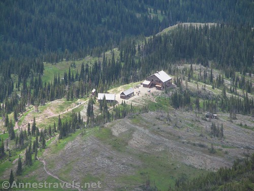Looking down on the Granite Park Chalet along the Highline Trail from the Swiftcurrent Lookout Trail, Glacier National Park, Montana