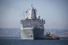 USS San Diego (LPD 22) approaches Broadway Pier in San Diego, Nov. 5. (U.S. Marine Corps/Sgt. Victoria Decker)