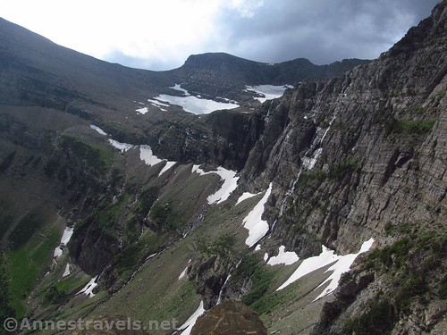 Waterfalls and glaciers in the upper part of the Swiftcurrent Amphitheater, Glacier National Park, Montana
