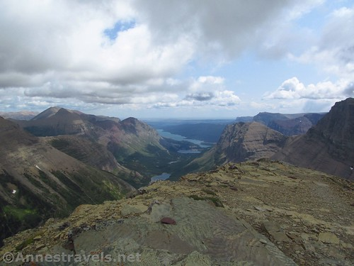 Looking down the Many Glacier Valley toward the plains from the Swiftcurrent Lookout, Glacier National Park, Montana