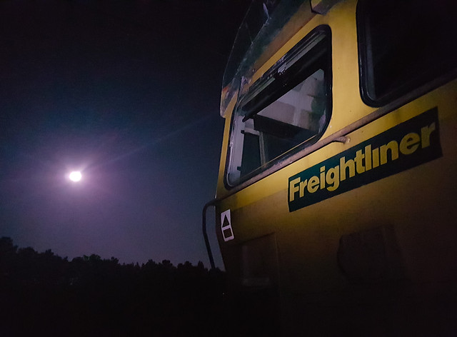 Freightliner Class 66 and Far Distant Moon