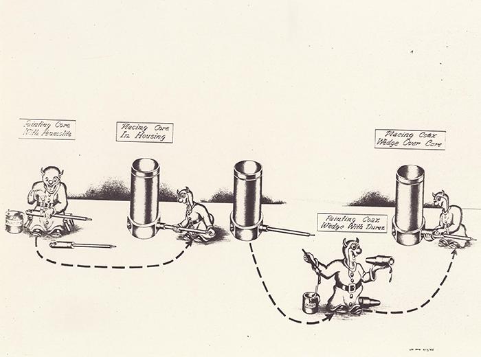 A cartoon drawing of a devil going through the motions of assembling a detonator.