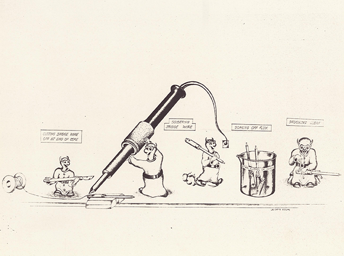 A cartoon drawing of devils soldering a bridgewire to the terminals.