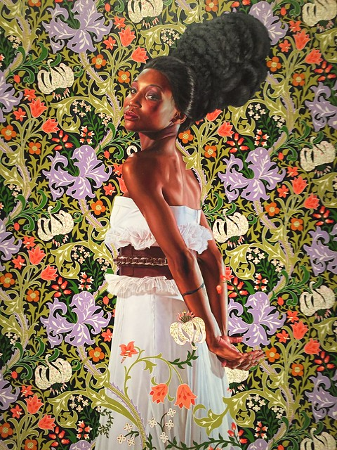 Kehinde Wiley painting at his exhibit at The VMFA in Richmond, Va. USA.