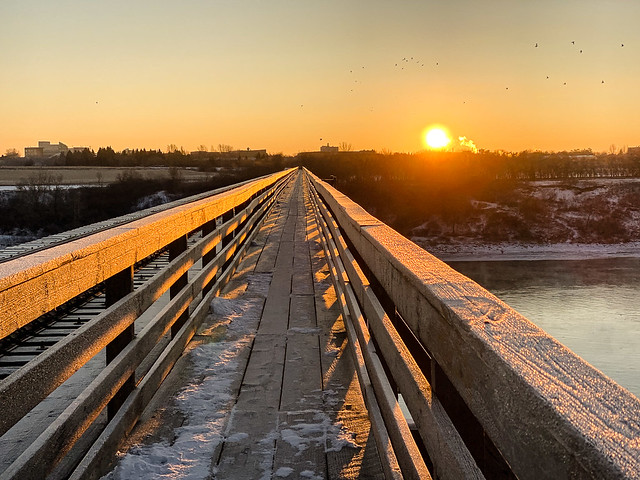 sunrise on the railway bridge
