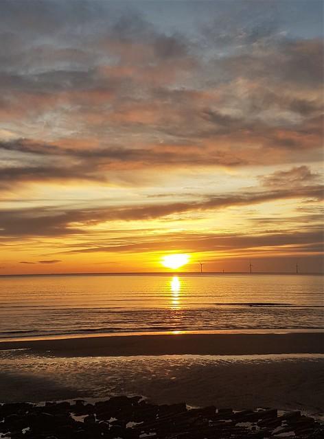 Sunrise and Wind Turbines - Cambois Beach Coastline