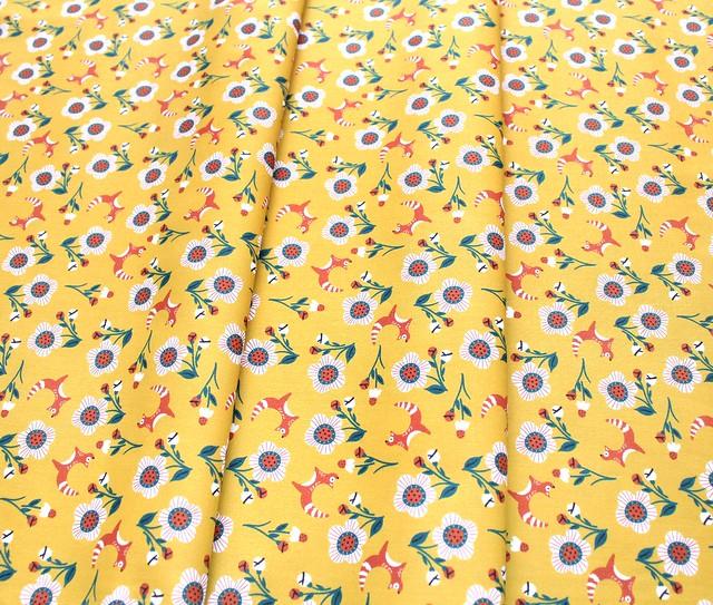 Paintbrush Studio Fabrics Tiger Garden 120-21112 Fox Flowers Gold