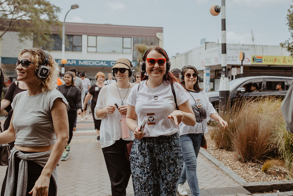 Happy people during Silent Disco Auckland events