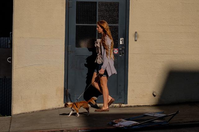 a woman with a dog on a leash on the sidewalk