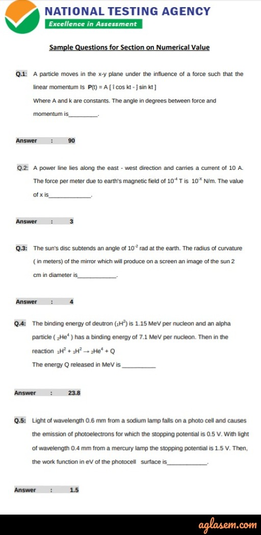 JEE Main 2020 Numercal Value Sample Paper