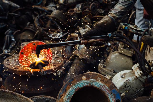Acetylene Torch Cutting Metal, Chittagong Bangladesh