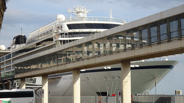 Viking Star Cruise Ship and Pedestrian Walkway, Port Vell, Barcelona, Catalonia, Spain