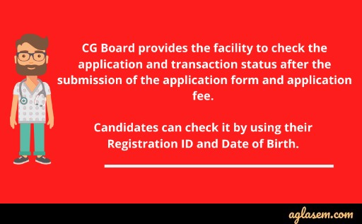 CG B.Sc nursing application status and transaction status