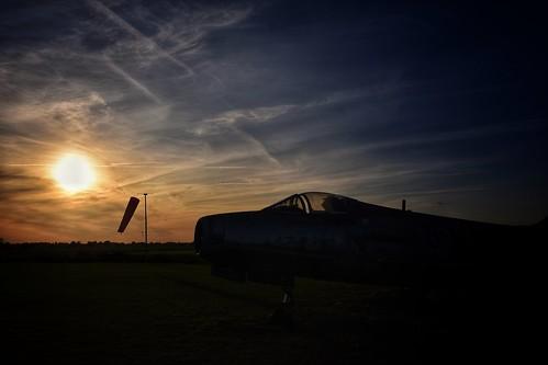 sunset sundown silhouette windsock dassaultmystere cockpit fastjet jetfighter andrewsfield greatsailing stebbing sky dusk evening nikon d7200 sigma18200 dassault mystere essex