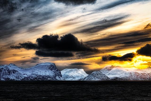 Sunrise behind  Reinfjord in Kvænangen, Norway-25a