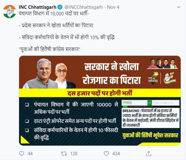 Chhattisgarh Panchayat Recruitment 2019-2020 for 10,000 vacancies soon, INC Chhattisgarh tweets