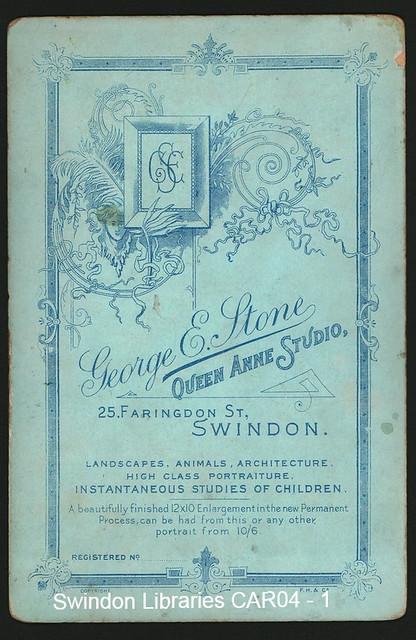 1890s: George E. Stone (cabinet card reverse)