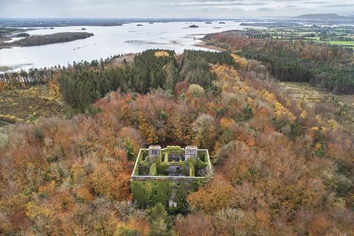 moorehall mayo ireland autumn colours ruin fall drone aerial landscape loughcarra trees manor house abandoned ruins