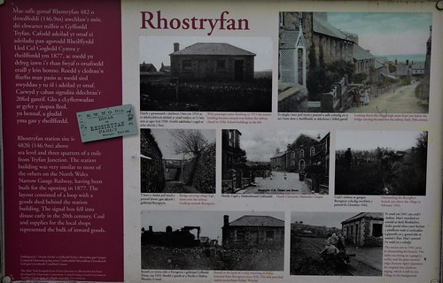 Bryngwyn branch railway line now a slate trail , information board at the site of the old Rhostryfan station