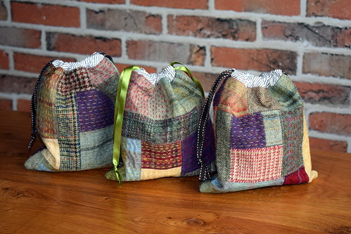 Kantha Tweed Drawstring Pouches | by Just Jude Designs