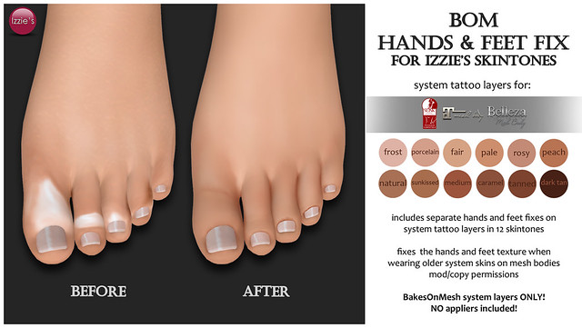 Free Bom Hands & Feet Fix (for Izzie's Skintones)