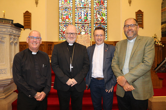 The Archdeacon of Connor and Vicar of Antrim, the Ven Dr Stephen McBride; Archbishop of Armagh, the Most Rev Dr Richard Clarke; the Ven Paul Dundas, Bishop's Commissary; and the Ven George Davison, Archdeacon of Belfast, at the clergy quiet morning.