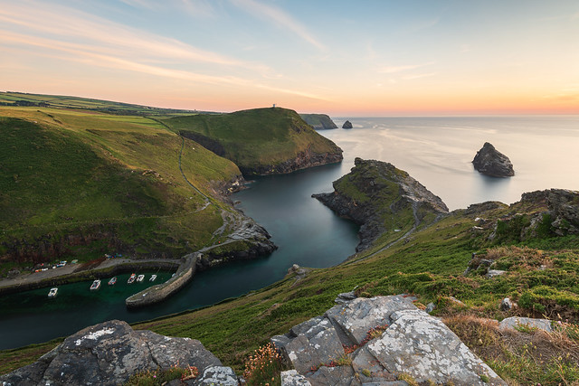 Boscastle Harbour at Sunset