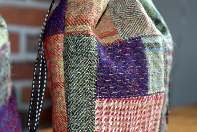Kantha Tweed Drawstring Pouches