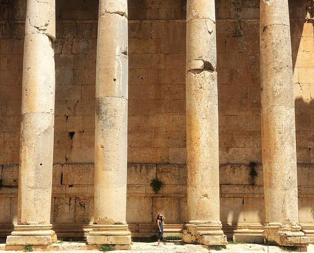 Elena and column of Temple of Bacchus. Lebanon, Baalbek
