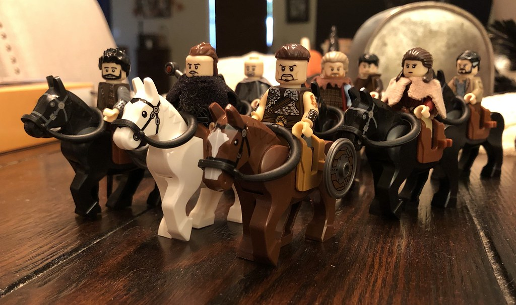 Uhtred and his posse on horses. (The Last Kingdom)