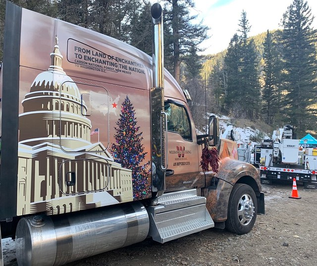 A truck carrying the National Capitol Christmas Tree
