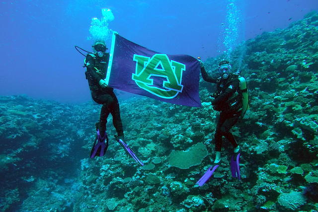 two students scuba diving show off an Auburn University flag underwater